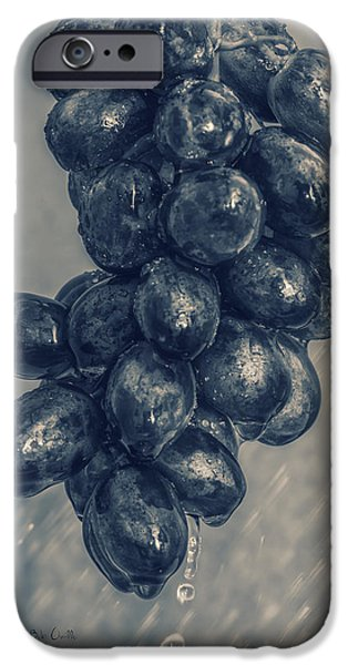 Raining iPhone Cases - Wet Grapes Five iPhone Case by Bob Orsillo