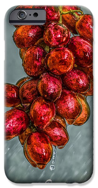Raining iPhone Cases - Wet Grapes Four iPhone Case by Bob Orsillo