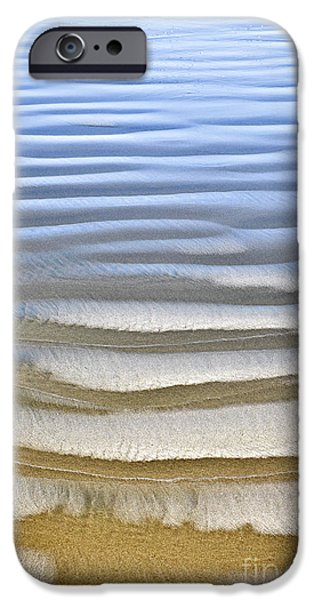 Rippled iPhone Cases - Wet sand texture on ocean shore iPhone Case by Elena Elisseeva