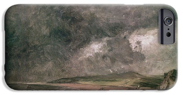 Storm iPhone Cases - Weymouth Bay With Approaching Storm Oil On Canvas iPhone Case by John Constable