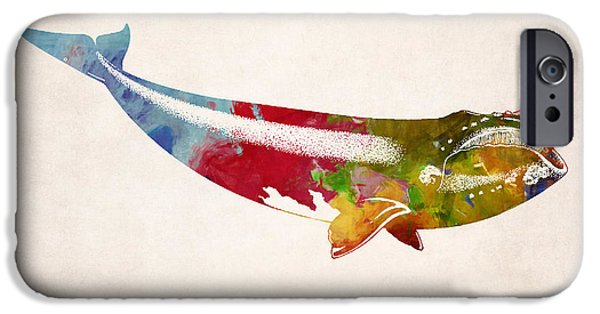 Whale Digital iPhone Cases - Whale Illustration Design iPhone Case by World Art Prints And Designs
