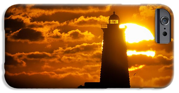 Nubble Lighthouse iPhone Cases - Whaleback Lighthouse Sunrise iPhone Case by Scott Thorp