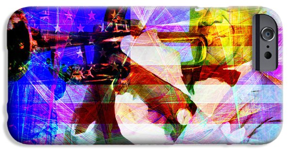July 4th iPhone Cases - What A Wonderful World Louis Armstrong With Flag 20141218 v1 with text m128 iPhone Case by Wingsdomain Art and Photography