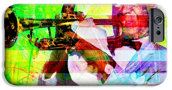 July 4th iPhone Cases - What A Wonderful World Louis Armstrong With Flag 20141218 v1 with text p50 iPhone Case by Wingsdomain Art and Photography