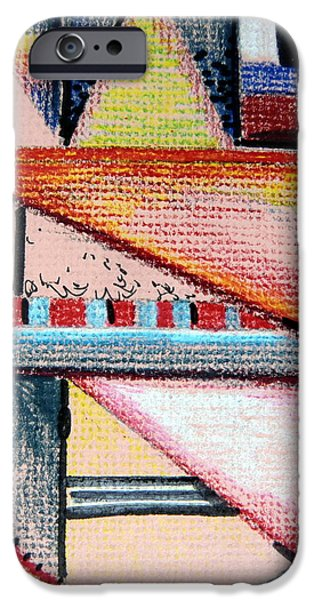 Colored Pencil Abstract iPhone Cases - What Ever iPhone Case by Mindy Newman