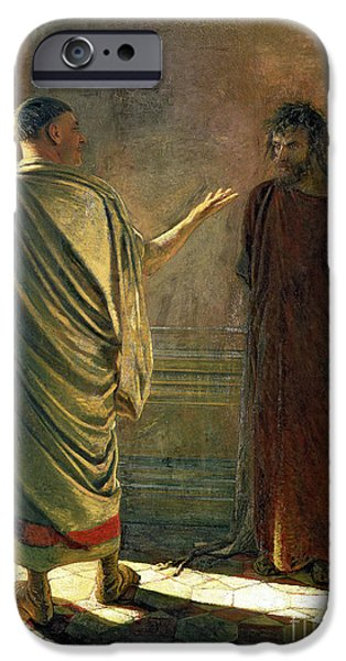 Prison Paintings iPhone Cases - What is Truth    Christ and Pilate iPhone Case by Nikolai Nikolaevich Ge