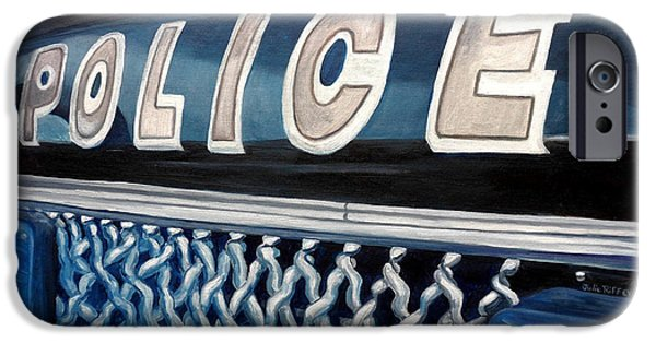 Law Enforcement Paintings iPhone Cases - Whatcha Gonna Do When They Come For You? iPhone Case by Julie Brugh Riffey