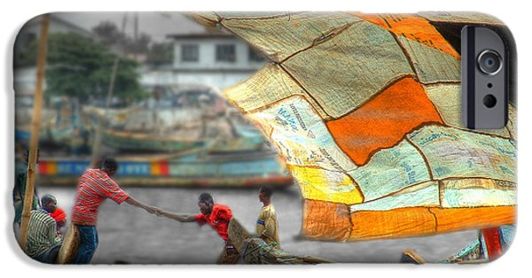 Makeshift iPhone Cases - Whatever it Takes - Makeshift Sail at Tema Harbor iPhone Case by Wayne King