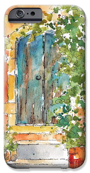 Terra Paintings iPhone Cases - Whats Behind That Door? iPhone Case by Pat Katz