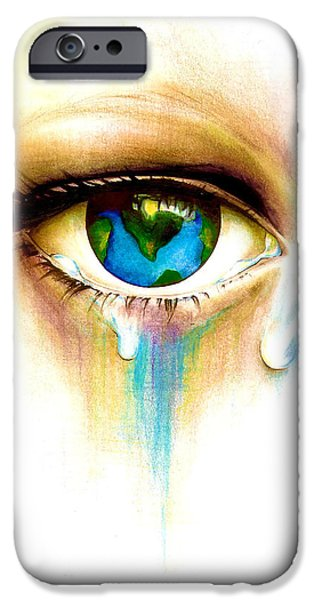 Crying Drawings iPhone Cases - Whats in a Tear? iPhone Case by Andrea Carroll