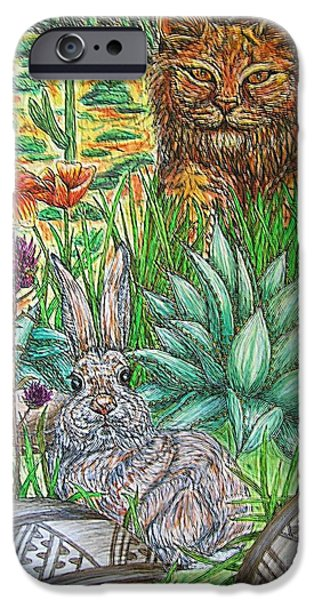 Bobcats Mixed Media iPhone Cases - Whats That...? iPhone Case by Kim Jones