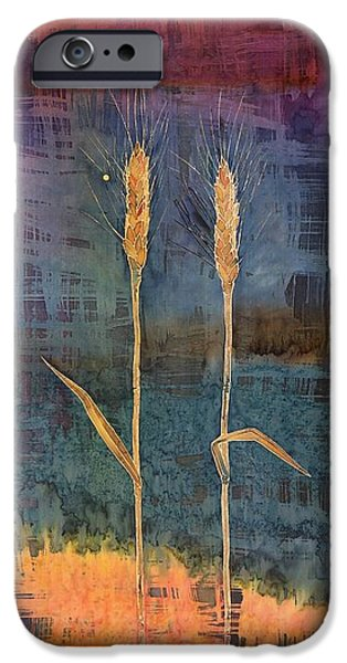 Colorful Abstract Tapestries - Textiles iPhone Cases - Wheat Couple iPhone Case by Carolyn Doe