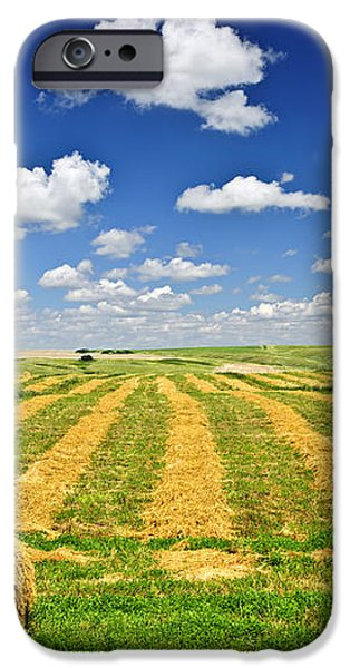 Wheat farm field and hay bales at harvest in Saskatchewan iPhone Case by Elena Elisseeva