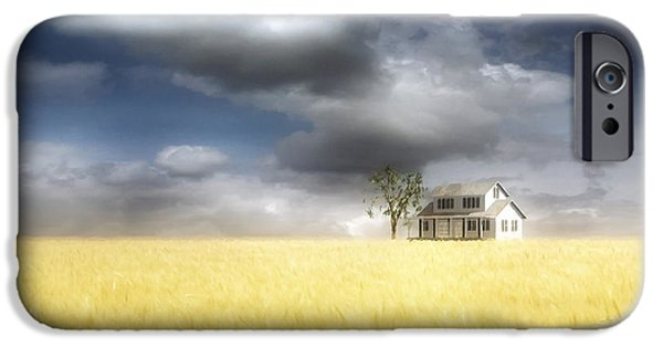 Drama iPhone Cases - Wheat Field iPhone Case by Cynthia Decker