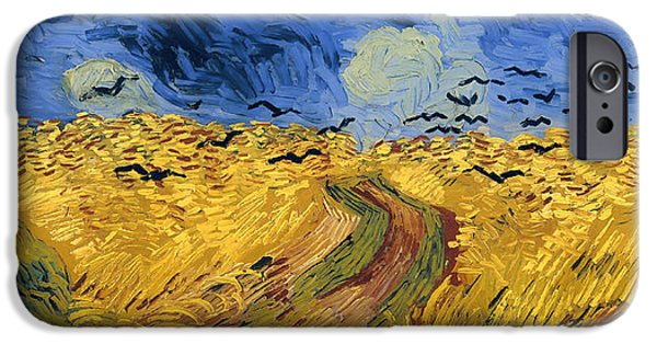 Concept Paintings iPhone Cases - Wheat Field with Crows iPhone Case by Van Gogh