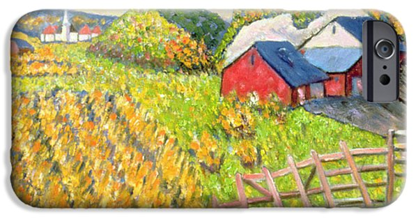 Farm iPhone Cases - Wheat Harvest Kamouraska Quebec iPhone Case by Patricia Eyre