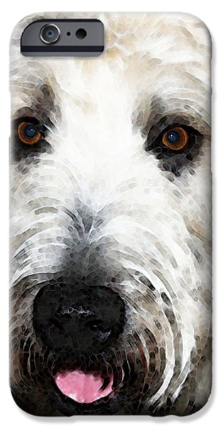 Buying Online Digital Art iPhone Cases - Wheaten Terrier - Happy Dog iPhone Case by Sharon Cummings