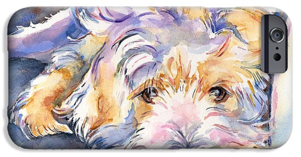 Terrier Art iPhone Cases - Wheaten Terrier Painting iPhone Case by Maria