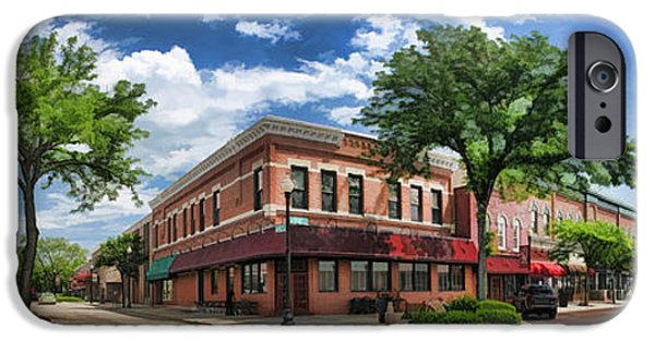 Americana Paintings iPhone Cases - Wheaton Front Street Panorama iPhone Case by Christopher Arndt