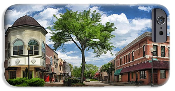 Main Street iPhone Cases - Wheaton Front Street Panorama iPhone Case by Christopher Arndt