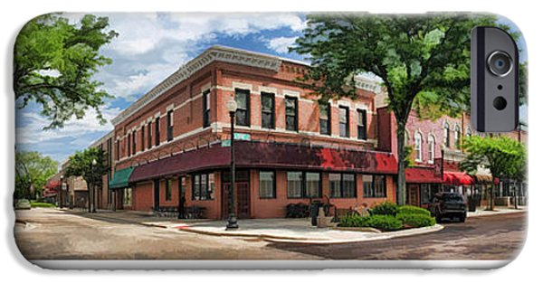 Americana Paintings iPhone Cases - Wheaton Front Street Panorama Poster iPhone Case by Christopher Arndt