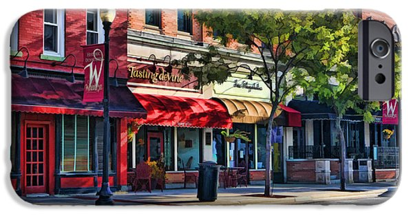 Store Fronts Paintings iPhone Cases - Wheaton Front Street Store Fronts iPhone Case by Christopher Arndt