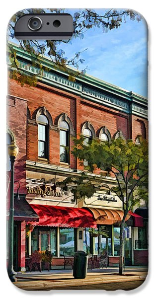 Store Fronts Paintings iPhone Cases - Wheaton Front Street Stores iPhone Case by Christopher Arndt