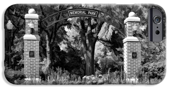 Zinnias iPhone Cases - Wheaton Memorial Park Black and White iPhone Case by Christopher Arndt