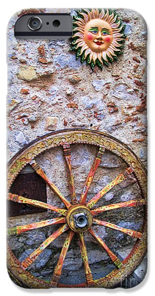 Village iPhone Cases - Wheel and Sun in Taromina Sicily iPhone Case by David Smith