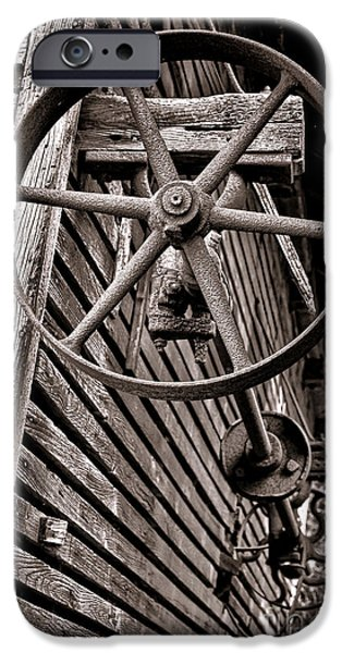Machinery iPhone Cases - Wheel of Labor  iPhone Case by Olivier Le Queinec