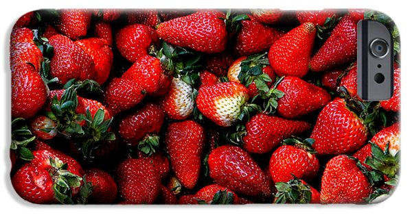 Canadian Photographer iPhone Cases - Wheelbarrow Of Strawberries iPhone Case by Al Bourassa