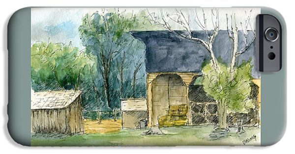 Shed Drawings iPhone Cases - Wheeler Farm iPhone Case by David King
