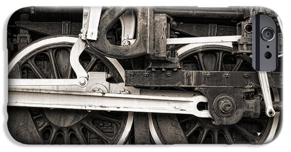 Steam Locomotive iPhone Cases - Wheels and Rods iPhone Case by Olivier Le Queinec