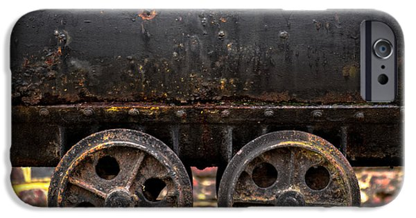 Machinery Pyrography iPhone Cases - Wheels of a mine cart iPhone Case by Oliver Sved