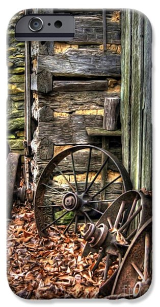 Wagon Photographs iPhone Cases - Wheels of Time iPhone Case by Benanne Stiens