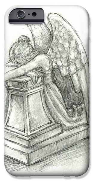 Weeping Drawings iPhone Cases - When Angels weep 2 iPhone Case by Lina Zolotushko