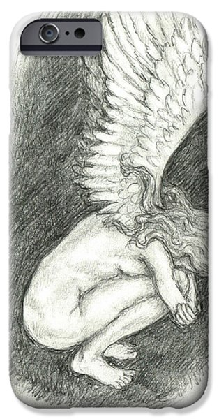 Weeping Drawings iPhone Cases - When Angels weep iPhone Case by Lina Zolotushko