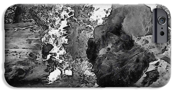 Tree Roots iPhone Cases - When Giants Fall Black and White iPhone Case by Barbara Snyder