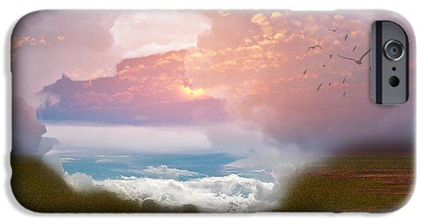 Zeana Romanovna iPhone Cases - When Heaven Breaks - Surrealism iPhone Case by Georgiana Romanovna