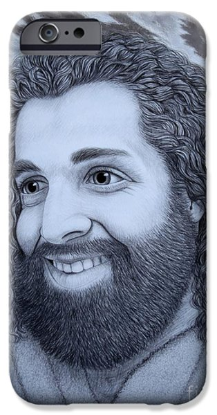 Religious Drawings iPhone Cases - When Jesus Thinks Of Me iPhone Case by Dale Crum