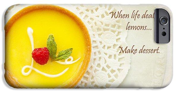 Love Laces iPhone Cases - When Life Deals You Lemons Make Dessert iPhone Case by Susan  Schmitz