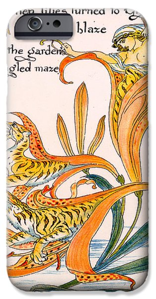 Flames Paintings iPhone Cases - When lilies turned to Tiger Blaze iPhone Case by Walter Crane