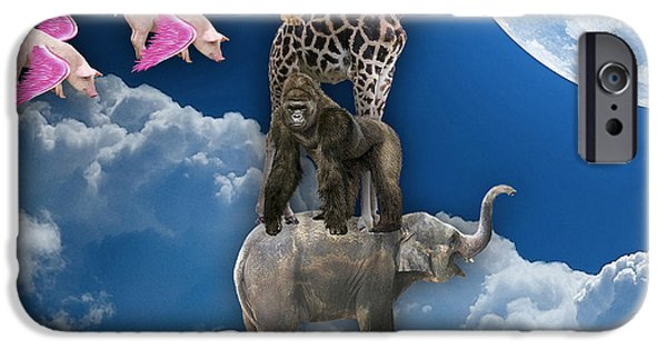 Giraffes iPhone Cases - When Pigs Fly iPhone Case by Marvin Blaine