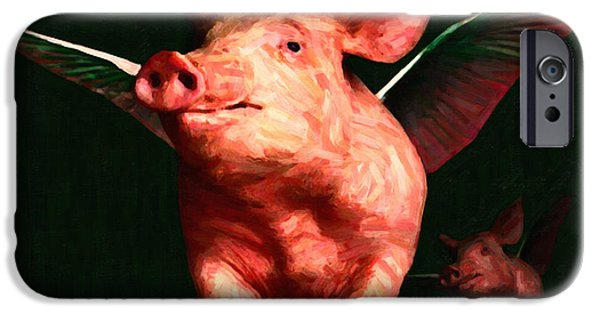 Charlotte iPhone Cases - When Pigs Fly - with text iPhone Case by Wingsdomain Art and Photography