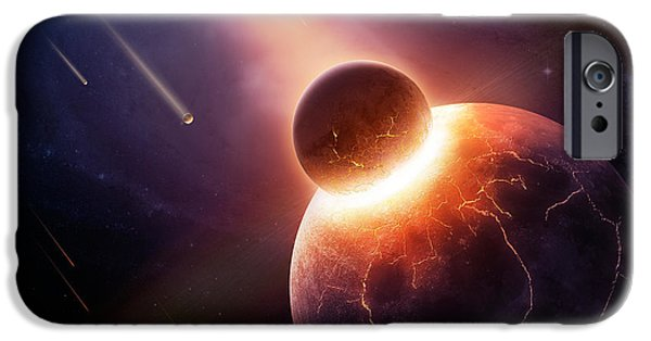 Cosmic iPhone Cases - When planets collide iPhone Case by Johan Swanepoel