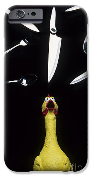 Juggling Photographs iPhone Cases - When Rubber Chickens Juggle iPhone Case by Bob Christopher