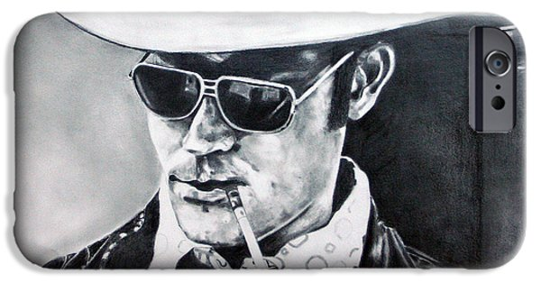 Kim Drawings iPhone Cases - Hunter S. Thompson iPhone Case by Kim Chigi