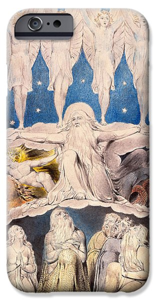 William Blake iPhone Cases - When the Morning Stars Sang Together iPhone Case by William Blake