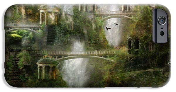 Mystical Landscape iPhone Cases - Where Elven Folk Dwell iPhone Case by Karen H