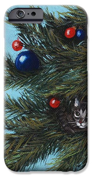 Animal Cards Pastels iPhone Cases - Where is Santa iPhone Case by Anastasiya Malakhova